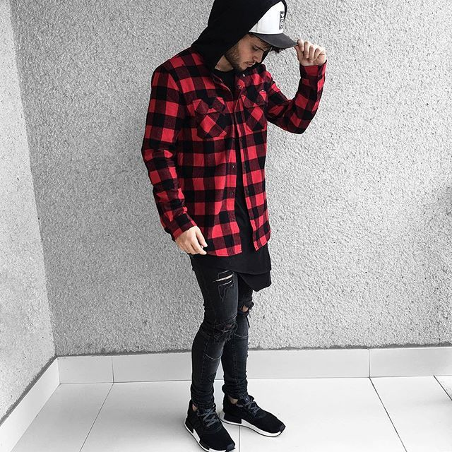 Adidas NMD, all black and red streetwear outfit.