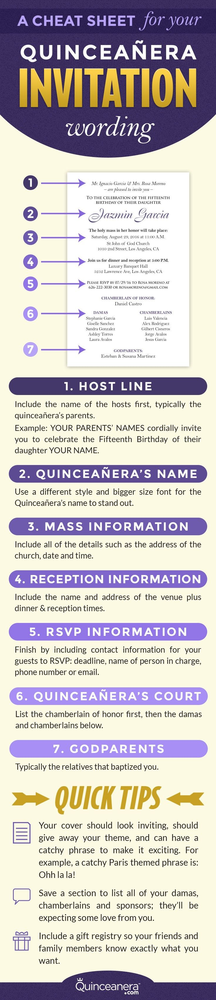 An example for your quinceanera invitation wording | http://www.quinceanera.com/invitations/a-cheat-sheet-for-you-quinceanera-invitation-wording/?utm_source=pinterest&utm_medium=social&utm_campaign=invitations-a-cheat-sheet-for-you-quinceanera-invitation-wording