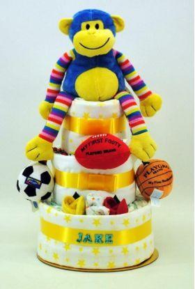 Newborn Nappy Cake Boy Monkey Sports 3 Layer | Baby Gifts |Baby Hampers | Baby Baskets | Baby Gift Boxes | Nappy Cakes | baby gifts Sydney | Baby Hampers Sydney | Baby Baskets Sydney | nappy cakes sydney