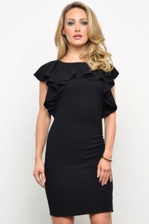 Libbie Frill Neck Dress in Black