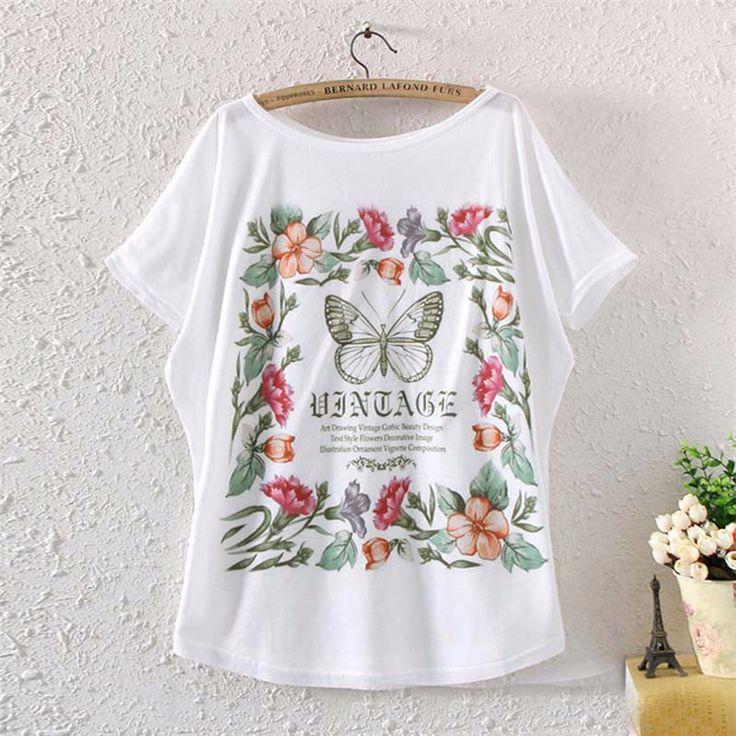 2017 Brand New Polyester T-Shirt Women Batwing Sleeve t-shirt o-neck Causal loose Butterfly Flowers shirt Summer tops for women