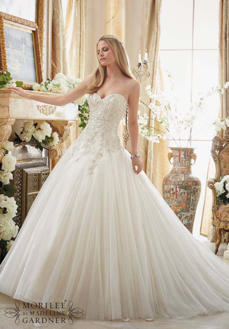 Wedding Dresses and Wedding Gowns by Morilee featuring Crystal Beaded Embroidery on Gored Tulle Ball Gown Colors Available: White/Silver, Ivory/Silver, Light Gold/Silver