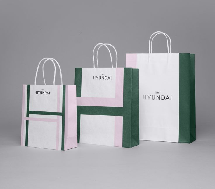 Visual identity and shopping bags for South Korean department store The Hyundai by graphic design company Studio fnt