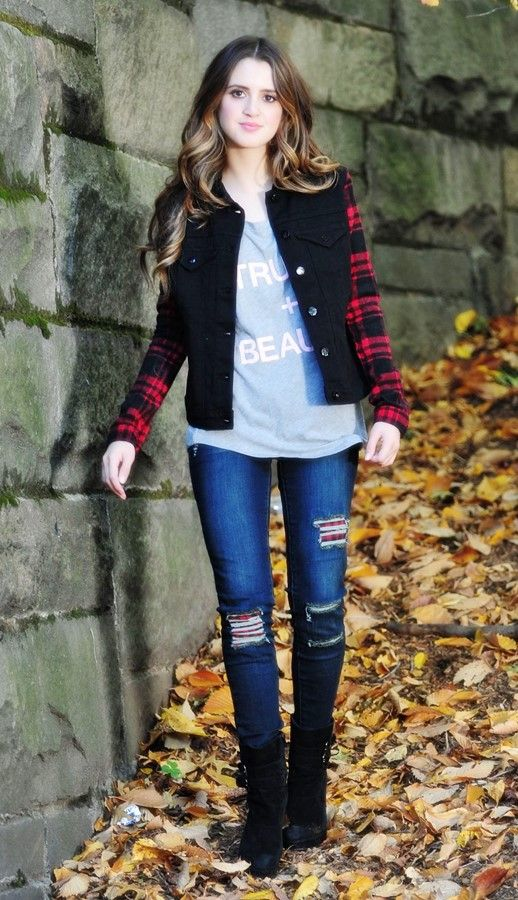#LauraMarano #jeans Laura Marano in tight ripped jeans at central park in NYC, October 2015.