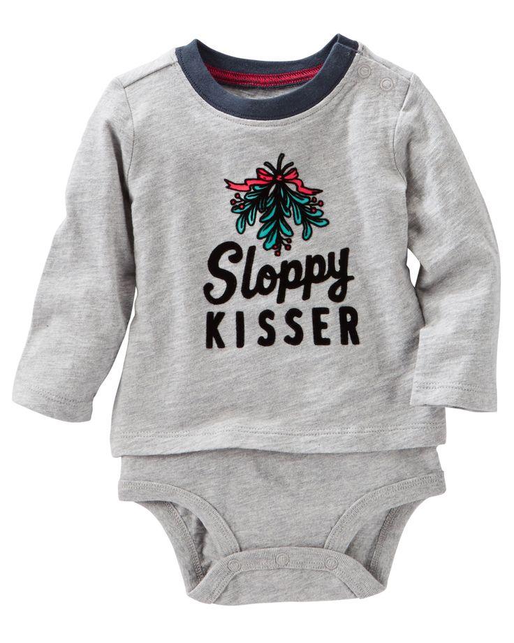 Baby Boy Flocked Double-Decker Bodysuit | OshKosh.com