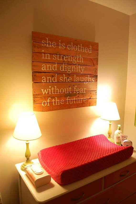 Handmade pallet with Bible verse.  Lovely for a girl's nursery or bedroom.