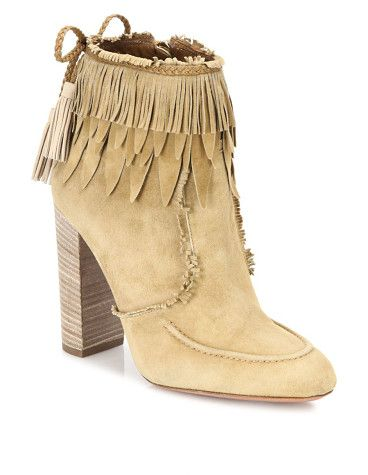 "Tiger lily fringed suede booties by Aquazzura. Tiered fringe and feathers top spirited suede bootie. Stacked wooden block heel, 4"" (100mm).Suede, leather and feathe..."