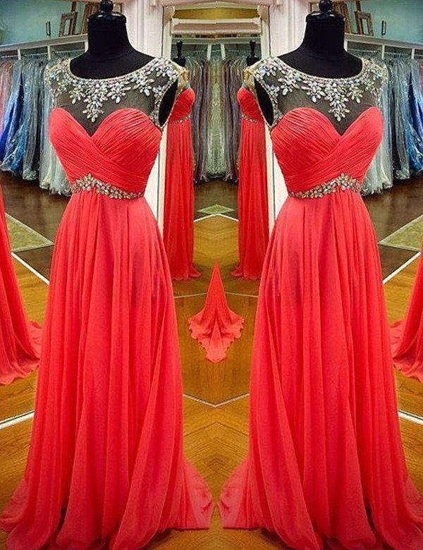 Long Crystal Jewel Neck A-line Chiffon Prom Dresses 2017
