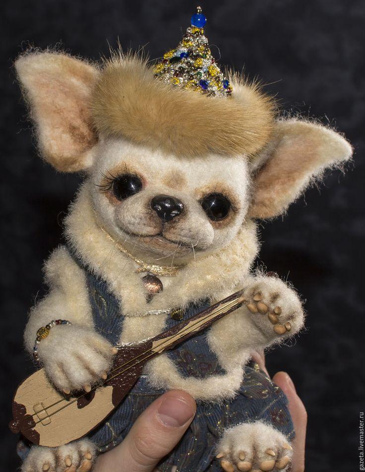 Купить Дана (Резерв) - белый, чихуахуа, собачка, собачка из шерсти, авторская игрушка, авторская работа