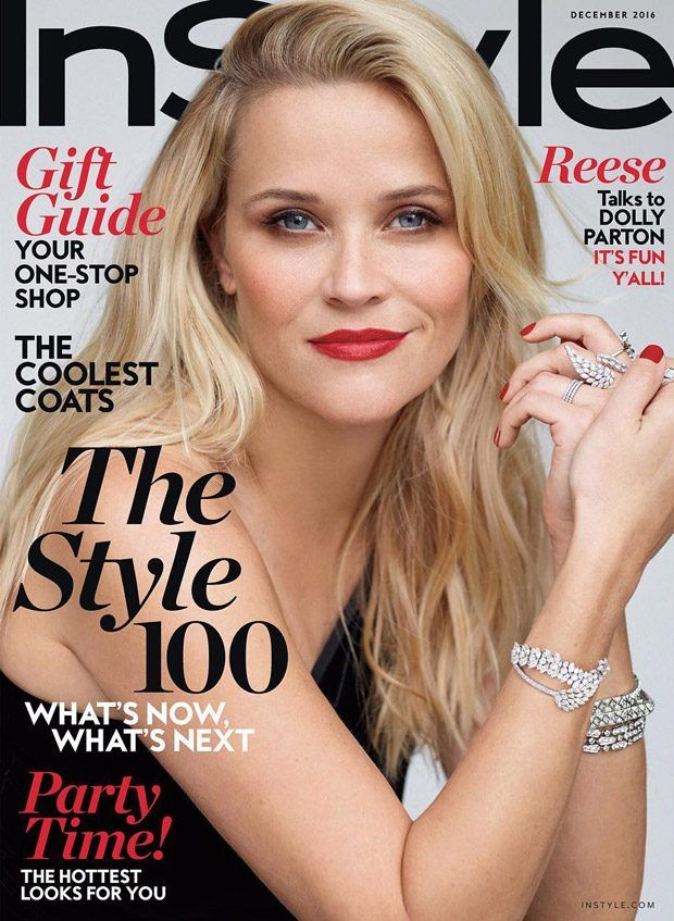 Reese Witherspoon for InStyle US December 2016 Cover - Giorgio Armani Privé dress