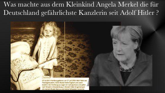 """Oben: Merkel als Kind – und heute _______________ Auszug: """"Ein solcher Protestantismus (Anm.: gemeint ist dessen Ausprägung in der DDR) ist aber besonders gefährlich und heimtückisch, nicht nur, weil er [...]"""