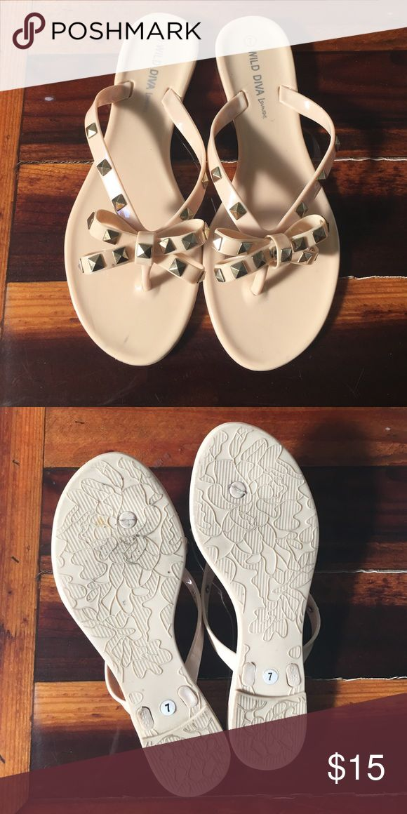 Studded Jelly Sandals Super adorable jelly nude flip flops with studs! Never worn! New without tags! Charlotte Russe Shoes Sandals