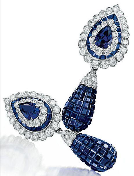 Mystery-set sapphire and diamond ear pendants by Van Cleef & Arpels, estate of Elizabeth Taylor.