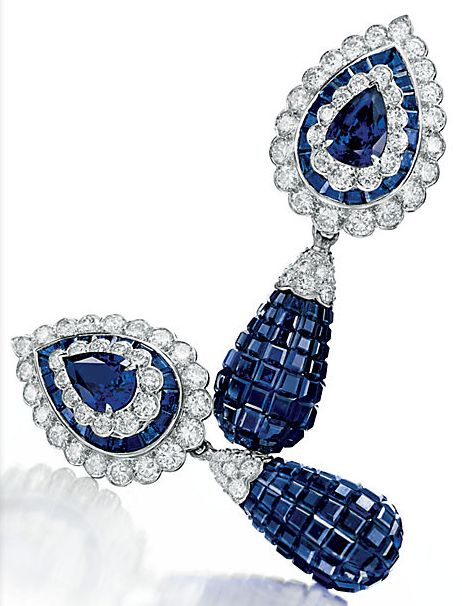 A PAIR OF 'MYSTERY-SET' SAPPHIRE AND DIAMOND EAR PENDANTS, BY VAN CLEEF & ARPELS. Formerly owned by Elizabeth Taylor.