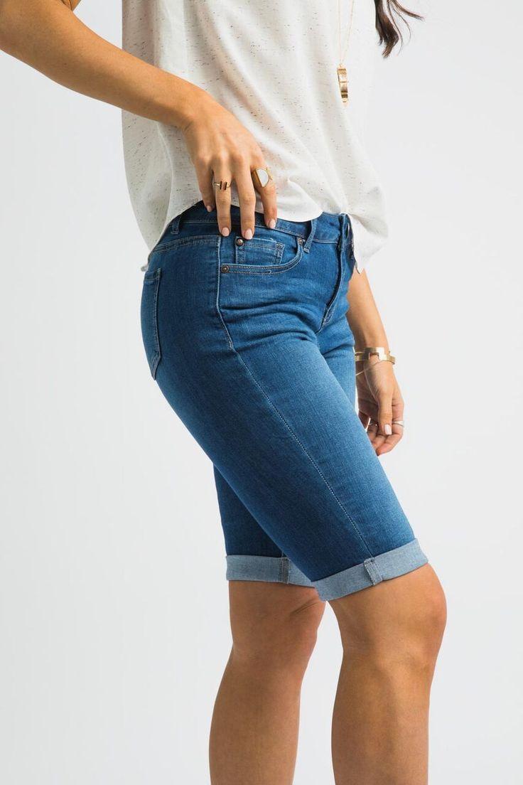 So Solid Dark Wash Bermuda Shorts