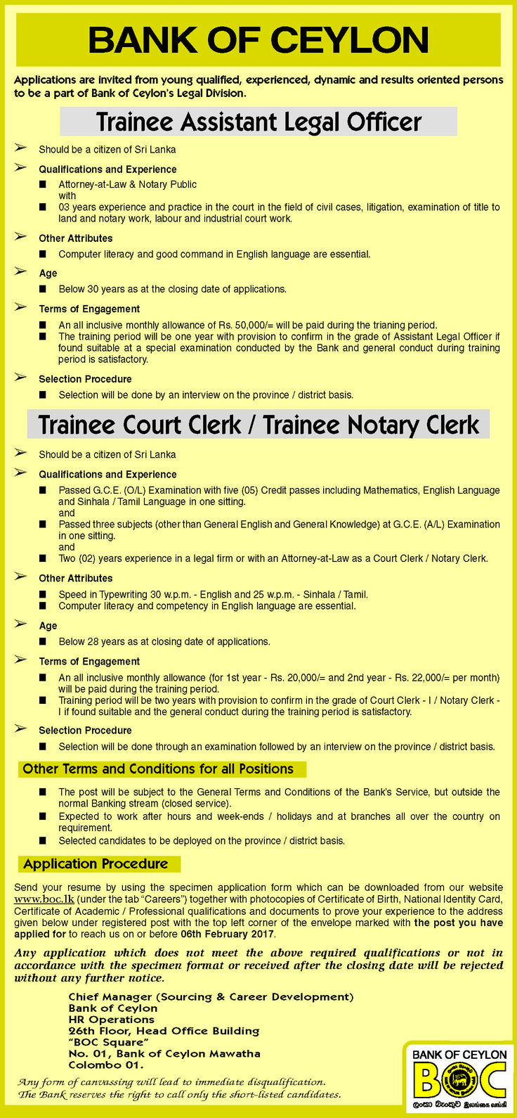 Trainee Assistant Legal Officer / Trainee Court Clerk / Trainee Notary Clerk at Bank of Ceylon | Career First