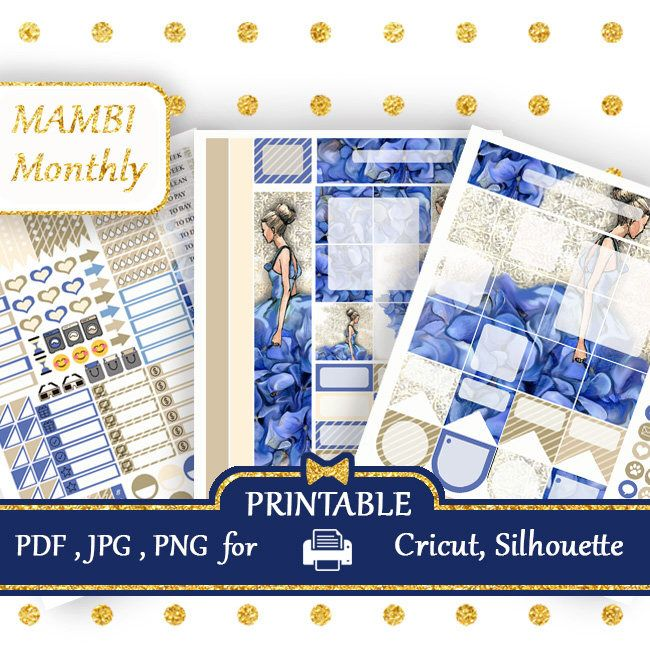 Excited to share the latest addition to my #etsy shop: MAMBI Happy Planner Stickers MONTHLY kit Printable Blue Dress Happy Planner Stickers Fashion Monthly Kits Silhouette Cricut COUPON codes