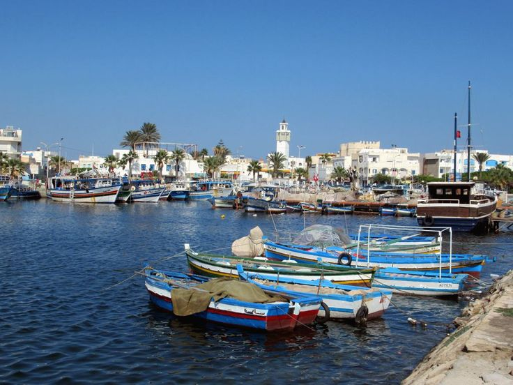 Fishing boats of all types tie up in the Port Des Peches at Mahdia, Tunisia.
