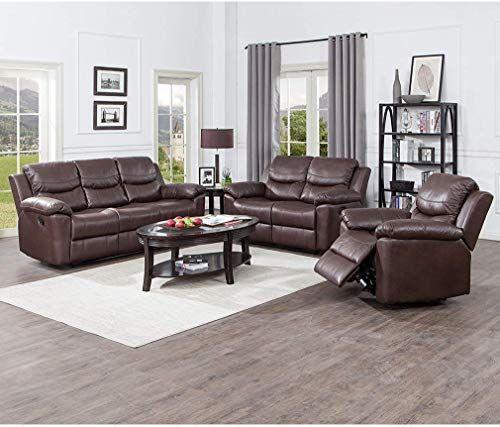 Best Seller Juntoso 3 Pieces Recliner Sofa Sets Bonded Leather