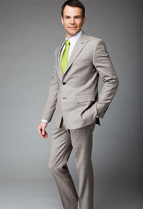 Light khaki 2 piece checked suit