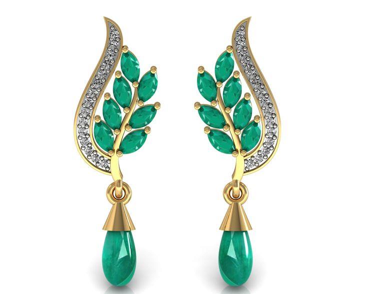 Emerald Dangle Earrings Certified Diamond Solid 14K Yellow Gold Women's Jewelry