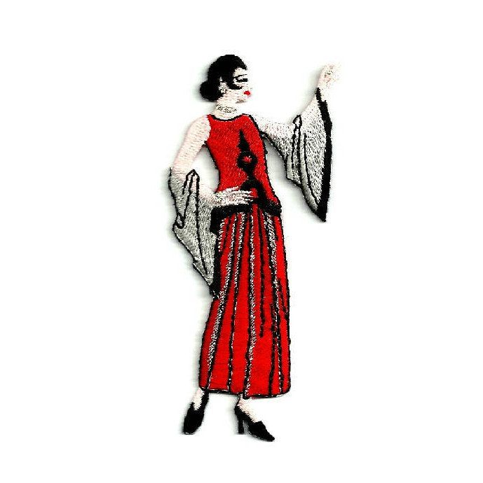 Vintage Lovers Fashion Art Deco Lady Iron On Embroidered Applique Patch 70A
