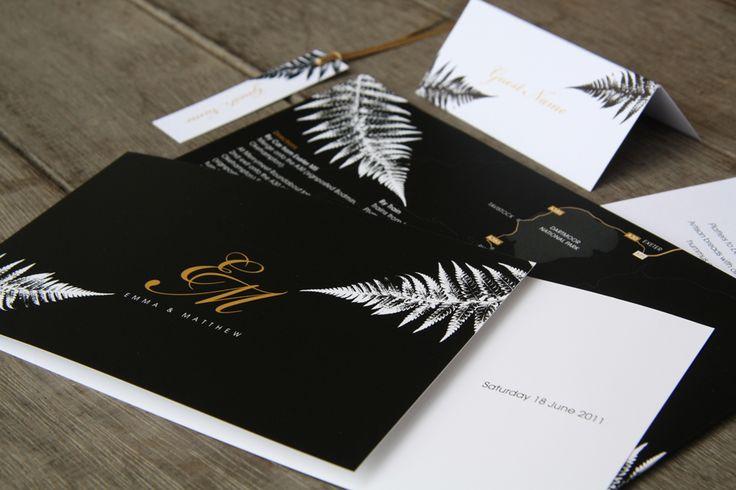 Rustic Wedding Invitations Nz: New Zealand Silver Fern Wedding Stationery, Black And Gold