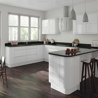 Gemini White Gloss Handleless Kitchen Doors - Buy made to measure kitchen doors online from Topdoors UK.