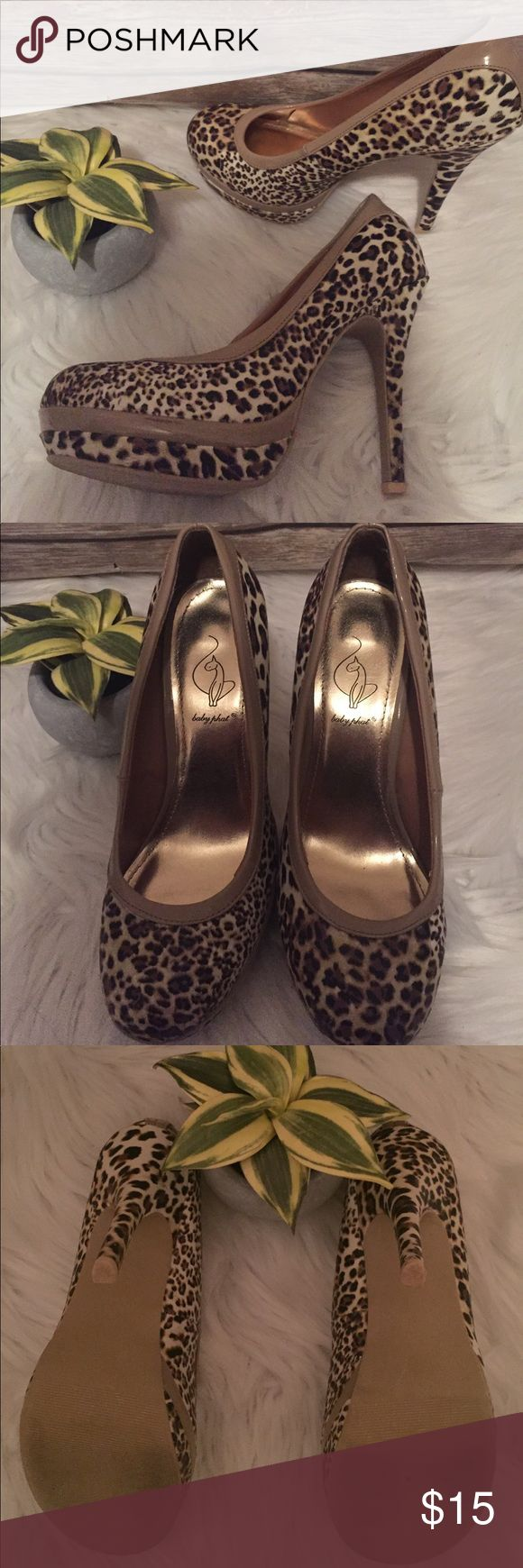 """Baby Phat Leopard Print Heels Size 7.5 Gorgeous Leopard printed heels. Great condition. Bottoms are worn but the overall outer appearance is almost flawless. Gold soles. 4 1/2-5"""" heel. Baby Phat Shoes Heels"""