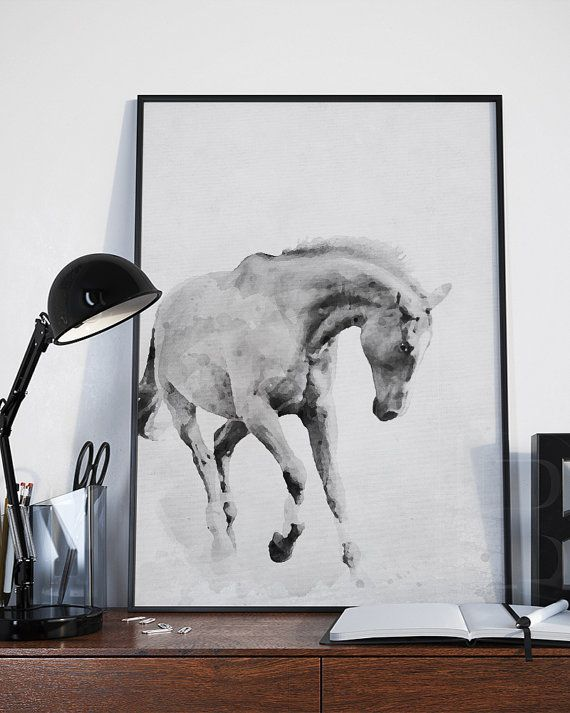 Freedom. Be inspired by this beautiful horse in black and white, perfect for your home decor or office. Its like a painting! Please see all the