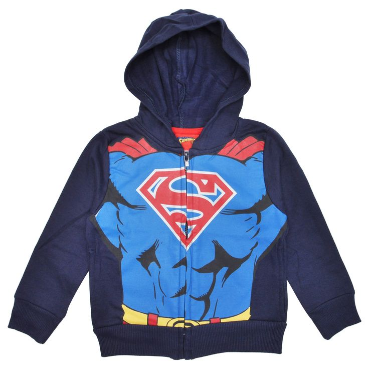 Toddler Boys Superman Costume Zip Hoodie Jacket