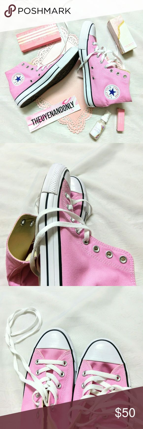 NEW Converse High Top Baby Pink Women 10 💠NEW WITHOUT CONVERSE BOX  💠NEVER WORN  💠NO TRADE  💠SHOES ONLY. Other Accessories are NOT INCLUDED  💠Accept Reasonable Offer Only Converse Shoes Sneakers