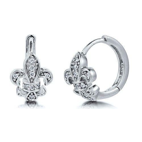 Sterling Silver 925 Cubic Zirconia Fleur De Lis Hoop Earrings 0 5 Inch From Berricle Price