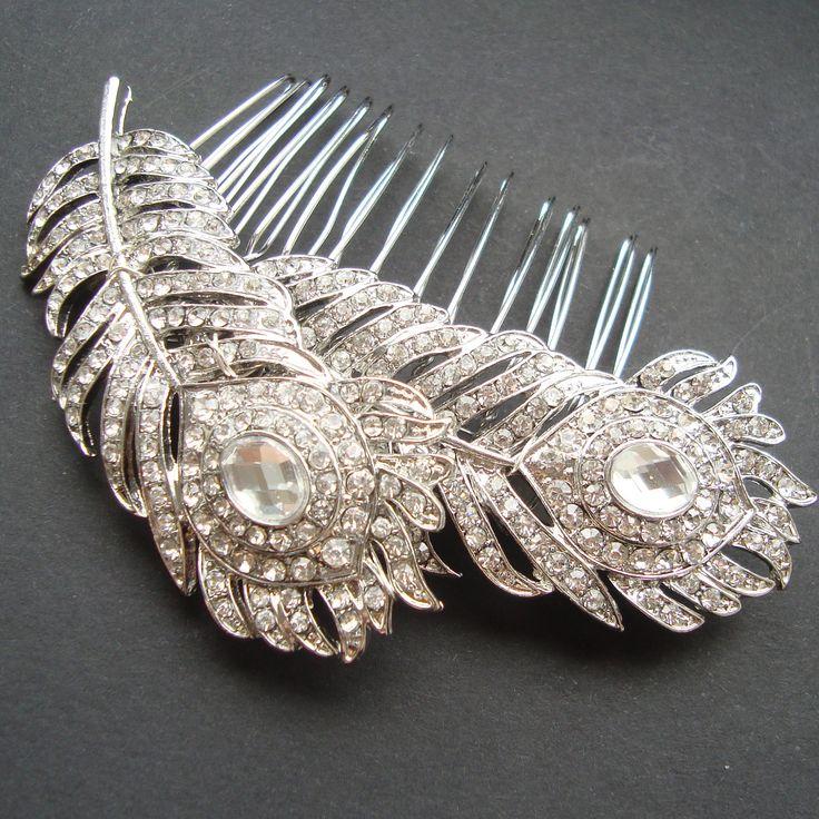 Vintage Style Rhinestone Bridal Hair Comb, Vintage Wedding Hair Accessories, Crystal Peacock Feathers Comb, Old Hollywood, PLUME. $68.00, via Etsy.