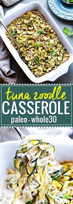 Paleo Tuna Green Chile Zoodle Casserole. An EASY paleo tuna zucchini noodle casserole that's Whole 30 approved, high protein, low carb. Hearty yet healthy, this dish can feed a family! A great way to use your spiralizer and boost your nutrition. /cottercrunch/