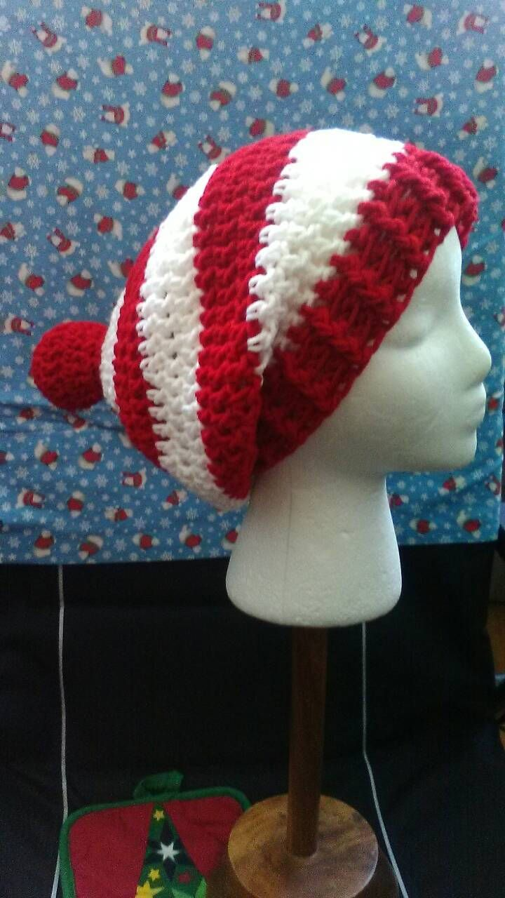 Red and White Crochet Slouchy Beanie, Where's Waldo, Christmas Crochet Hat, Crochet Hats, Red and White Stripes, Ready to Ship, B82-17-0706 by NoreensCrochetShop on Etsy
