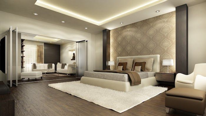 Beige Accent Wall Led Lights Wooden Floor White Rug Leather Bed How To Decorate A Small Bed Modern Luxury Bedroom Luxury Bedroom Master Master Bedroom Interior