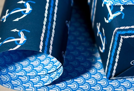 nautical anchor wrapping paper for bridesmaid and groomsmen gifts (nautical wedding)