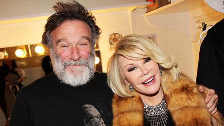 """Joan Rivers and Robin Williams: This pic captures comedy's recent loss - """"Can you imagine the show Joan Rivers and Robin Williams will be performing tonight in heaven?"""". - Linda Crostic Glunt"""