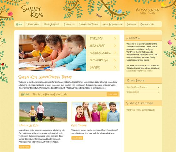 This kids WordPress theme comes with a responsive layout, Google Fonts, WooCommerce compatibility, a Google Maps shortcode, a contact form plugin, a sidebar manager, a homepage image slider, easy color and font customization, and more.