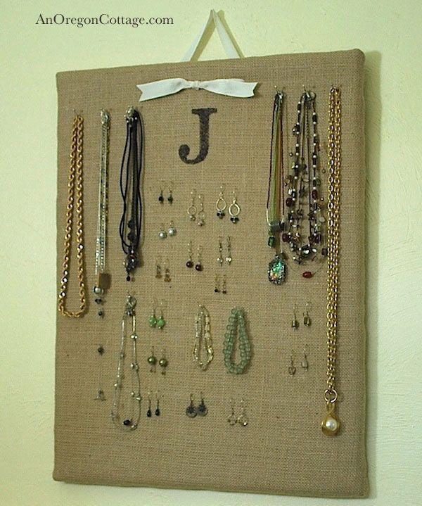 DIY burlap jewelry board