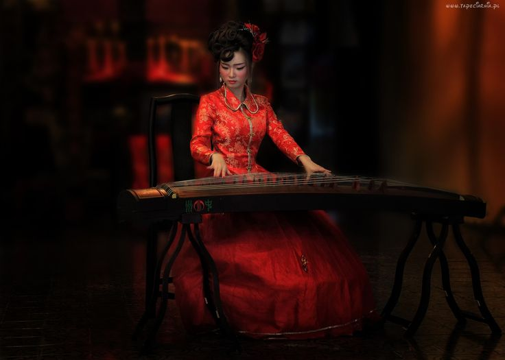 Dziewczyna, Czerwona, Sukienka, Muzyka, Instrument