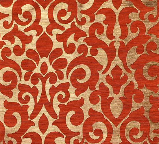 custom curtains with burnt orange gold damask pattern one panel with