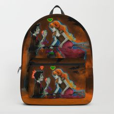 Halloween Picnic Backpack  #Halloween #witch #frankenstein #monster #cute #couple #cartoon #illustration #Backpack #spooky #schoolsupplies #goth #jackolantern #violetcreations
