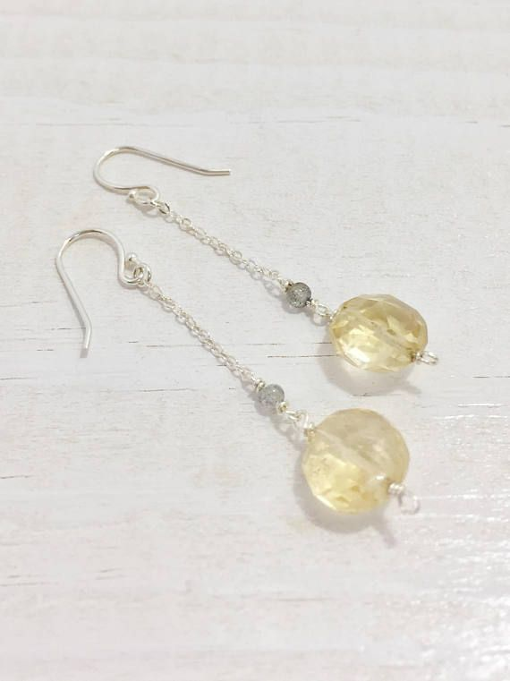 Gray Labradorite and Pale Yellow Citrine complement each other wonderfully in these delicate silver drop earrings. These Gemstone Earrings will add the perfect touch of sparkle. The Simple Dangle Earring style is very easy to wear with anything. Citrine is the birthstone for November.