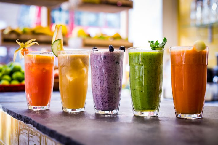 A rainbow of smoothies and juices
