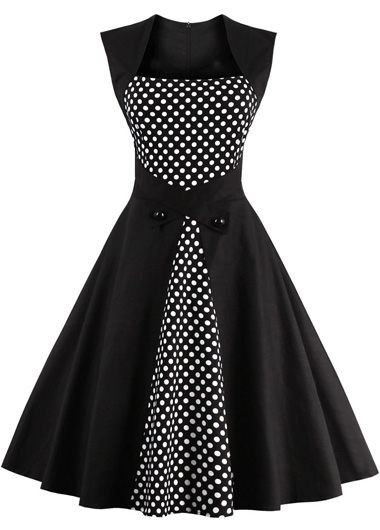 Black Polka Dot Print Sleeveless A Line Dress | lulugal.com - USD $32.06