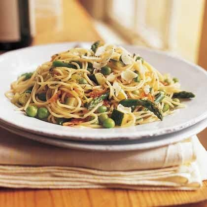 Pasta Primavera by Cooking Light. To keep the prosciutto from sticking together in the pasta, lay it out on a plate to dry after you chop it. The rich, nutty flavor of the Asiago complements the saltiness of the prosciutto, but Parmesan can be substituted if necessary.