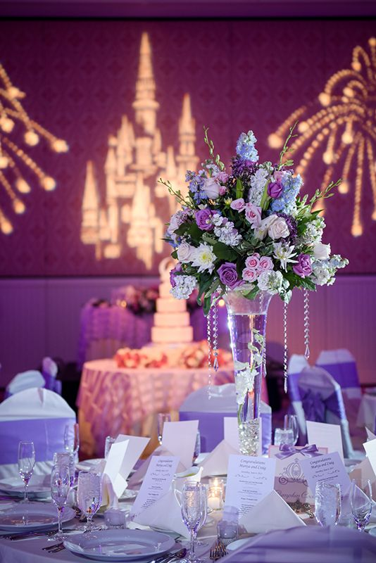 Dreamy Purple Wedding Reception Complete With Fireworks And Cinderella  Castle Gobo
