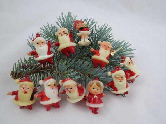Vintage Miniature Plastic Santa Ornaments by VintageCocobytheLake, $12.95